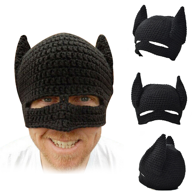 Super Hero Funny Mask Hats Caps Men Knitted Men s Winter Hat Fashion Batman  Hat Novelty Men Beanie Halloween Party Gift 2018 0f26173cd25