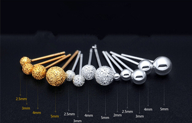 4734743d9 Genuine 925 Sterling Silver Ball Polished Stud Earrings frosted Gold Silver,  Stud Earrings frosted Gold