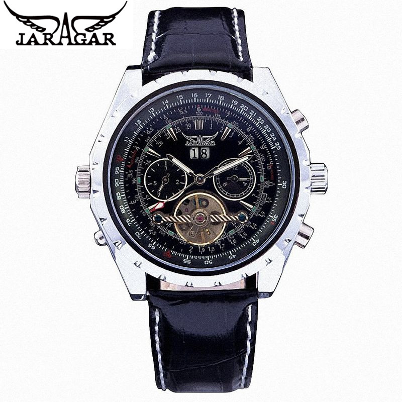 New JARAGAR Fashion CHRO AUTO Mechanical Watches Mens Auto Leather Men's Watch Wristwatch