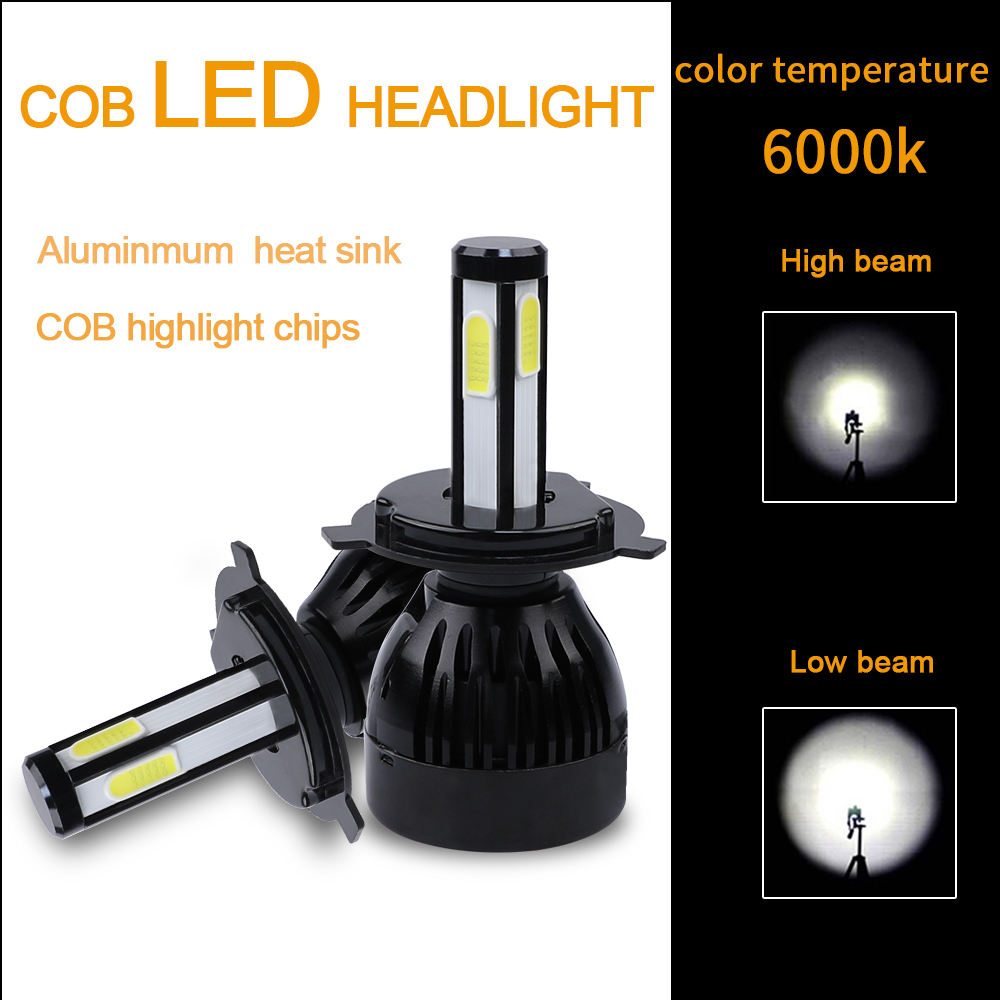 Image 3 - H4 led headlight 9004 9007 H13 H15 cob auto led Car Bulb 6000K 12V lampada light source waterproof aluminume H4 lamp-in Car Headlight Bulbs(LED) from Automobiles & Motorcycles