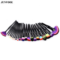 22pcs Black Makeup Brushes Set Eyeshadow Powder Foundation Make Up Fan Brush Kit Rainbow Hair Contour