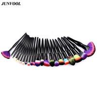 22pcs Black Makeup Brushes Set Eyeshadow Powder Foundation Make Up Fan Brush Kit Rainbow Hair Contour Face Blend Cosmetic Tools