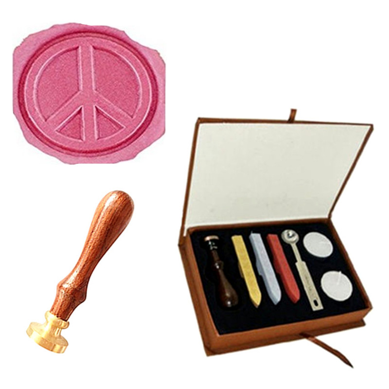 Vintage Ant-War Peace Symble Wedding Invitation Wax Seal Sealing Stamp Rosewood Handle Sticks Melting Spoon gift Box Set Kit big copper spoon big large size stamp spoon vintage wooden handle brass spoon for sealing wax stamp wax stick spoon