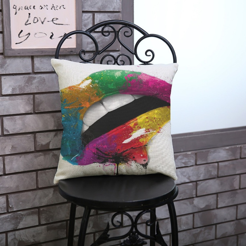 18 inches Colorful Oil Painting Cushion Cover Sexy lips Lollipop Eyeshadow Cotton LinenThrow Pillow Case Sofa Car Home Decor