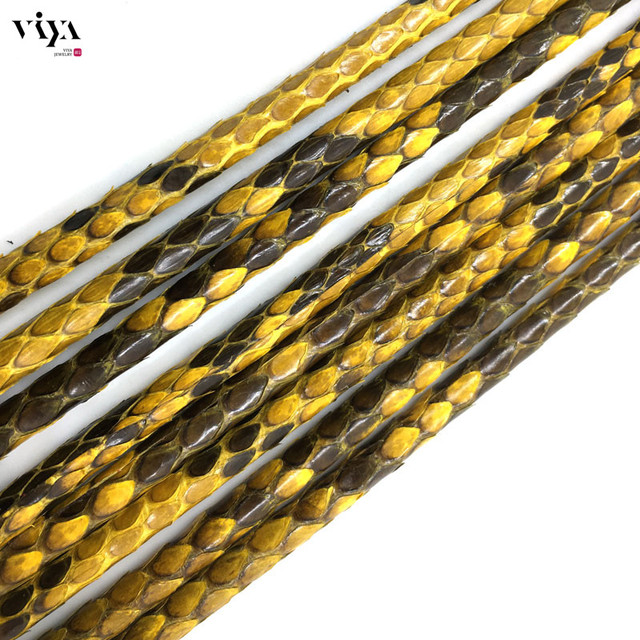 4mm Luxury Bracelet Leather Cord 2015 Top Sale High Quality Leather cord 4mm Glossy Yellow Python Leather Cord