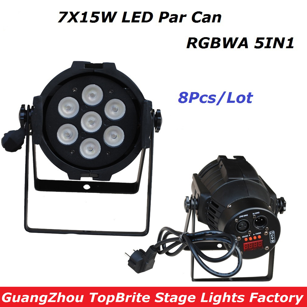 8XLot New LED Stage Lights 7*15W 5IN1 RGBWA Par LED DMX Stage Lighting Effect DMX512 Master-Slave Led Par Can For DJ Disco Party hot sale 18 15w rgbwa 5 in 1 led par 64 aluminum led par cans light 18x15 dmx led par stage lighting effect