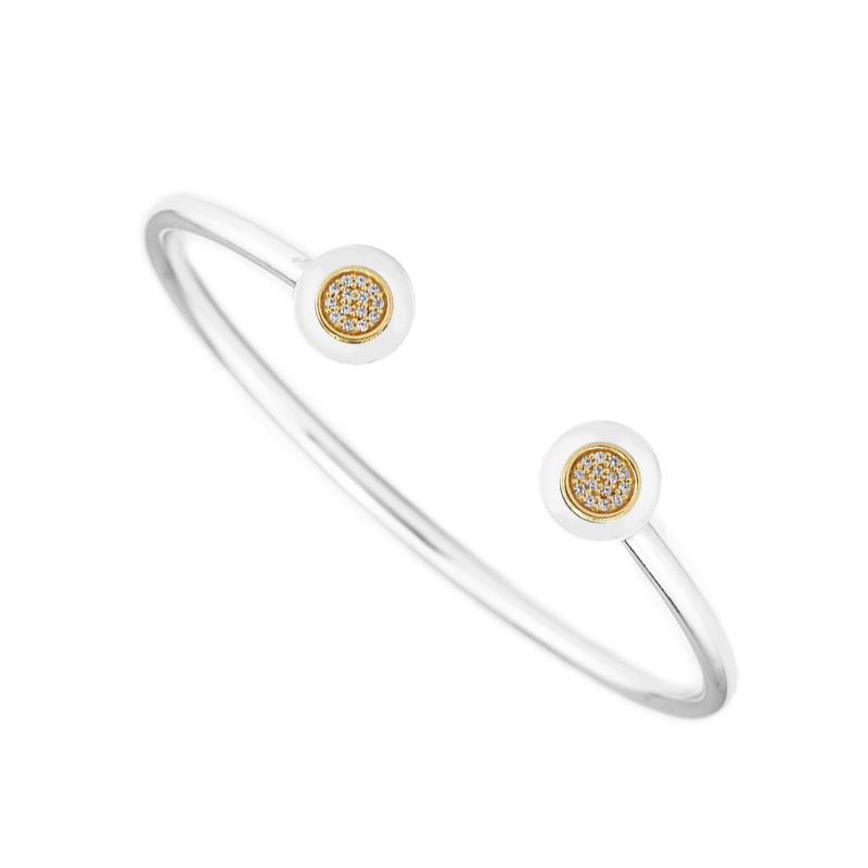 100 925 Sterling Silver 14K Real Gold Signature Open Bangle Clear CZ Two Tone Bangles Bracelets