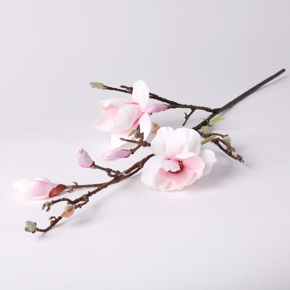 42 Artificial Magnolia Silk Flower Single Stem In Pink Nearly