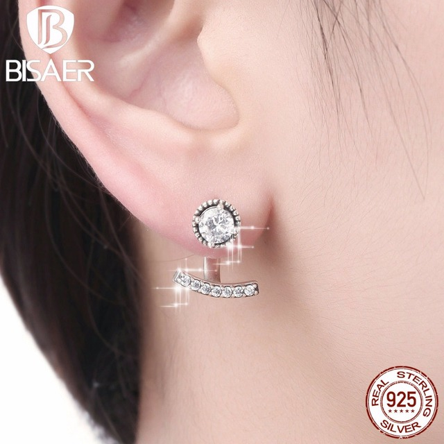 Authentic 925 Sterling Silver Abstract Elegance Smile Clear Cz Dangle Earrings Women Fashion Engagement Jewelry