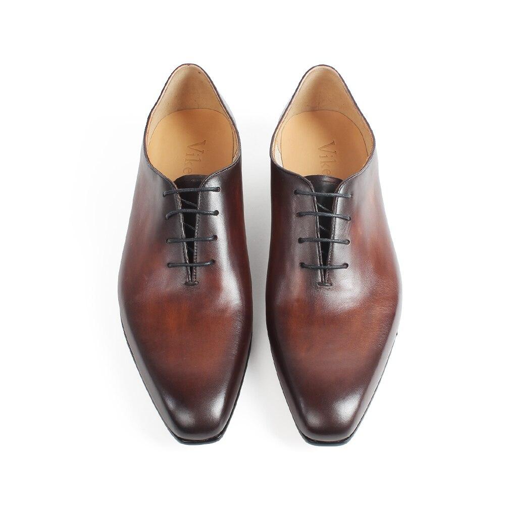 VIKEDUO 2019 New Men's Formal Dress Shoes Fashion Genuine