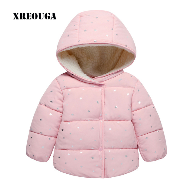 10e6c15de81ce US $17.49 |New Winter Children Unisex Thicker Cotton Jacket Baby Pink  Toddler Star Infant Cute Hooded Short Coat Kids Warm Casual Wear JY05-in  Down & ...