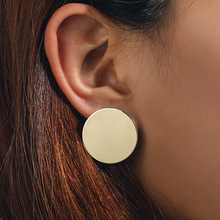 2019 New Big Round stud Earrings For Women Punk Metal Gold color Earring Fashion Jewelry Gift