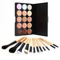 Professional 1 Set 15 Colors Contour Face Cream Makeup Concealer Palette 12pcs Leopard Brush Cosmetic make up sets