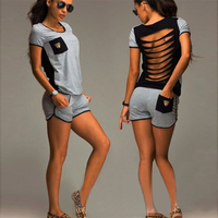 Summer Style Fashion Women Printed Hollow Back Playsuit T Shirt Short Pant Suit For Women S