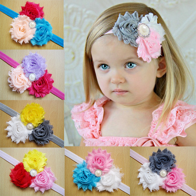 3302c49b837 Wholesale kids Girls Triple Cluster Flower With rhinestone Button Headbands  newborn photo props Free Shipping 24pcs lot