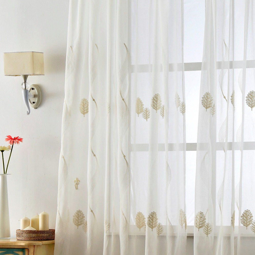 Leave Kitchen Curtain Christmas Panel Tulle Textile Sheer Fabrics Design  Door Curtains Home Linen Embroidered(