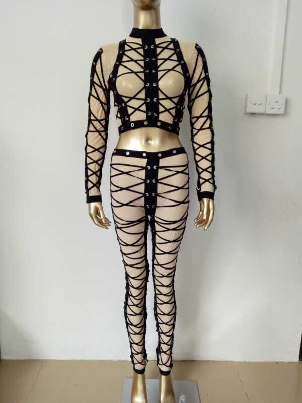 New Fashion Women Sets Nude Mesh Black Straped Short Top Long Pants Bandage Sets