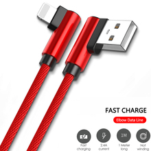 2.4A 90 Degree Elbow Micro USB Cable Fast Charging Data Cable for iphone xs Samsung