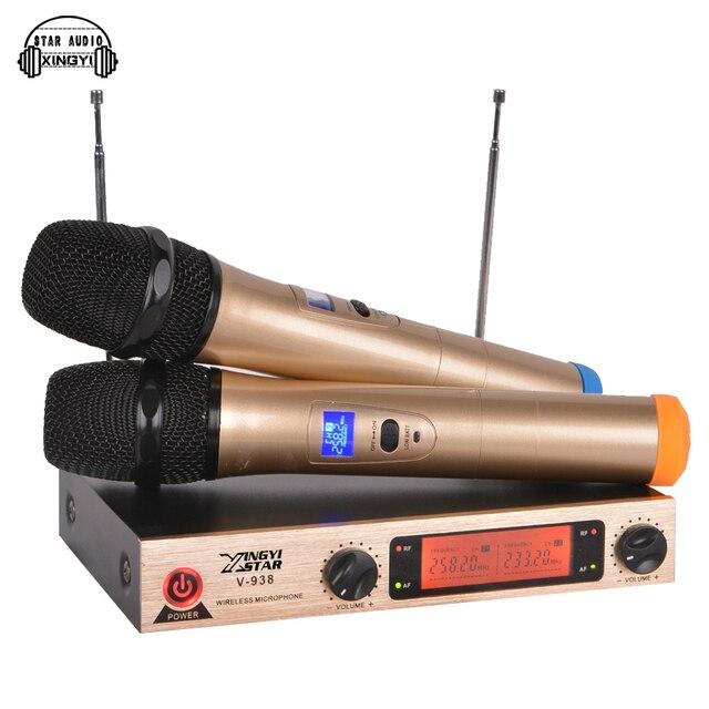 Профессиональный Караоке Беспроводная Микрофонная Система V938 Двойной Металл Портативный Беспроводной Микрофон 2 Канала СВЕТОДИОДНЫЙ Дисплей Приемник Передатчик