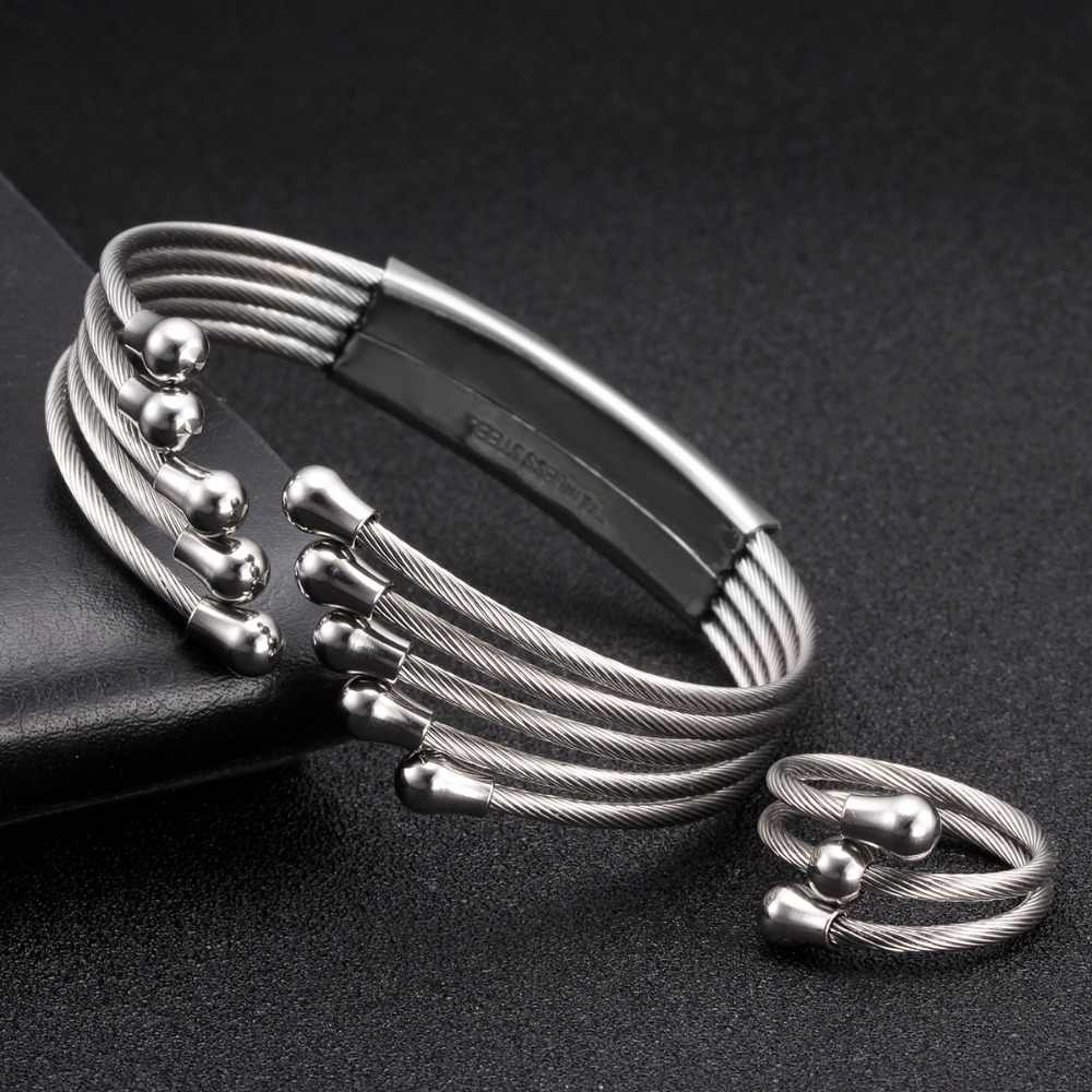 Luxury Brand Silver Chain Link Female Women Charm Wrap Bangles Soft Stainless Steel Tassel Open Fashion Cuff Bracelets