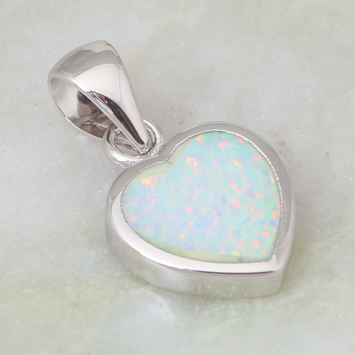High quality suppliers 925 sterling silver jewelry Fashion Jewelry Heart White Fire Opal pendants P040 is3u9X7J