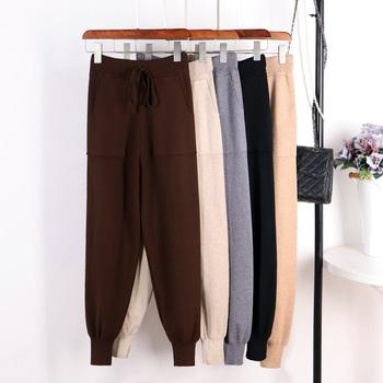 GIGOGOU damskie spodnie dorywczo Harem luźne spodnie damskie spodnie z dzianiny jesienno-zimowa solidny kolor sweter spodnie z kieszeniami tanie i dobre opinie Pełnej długości Wiskoza Octan Elastan Elastyczny pas Mieszkanie GG8878 Wysoka Kobiety Stałe Na co dzień Harem spodnie