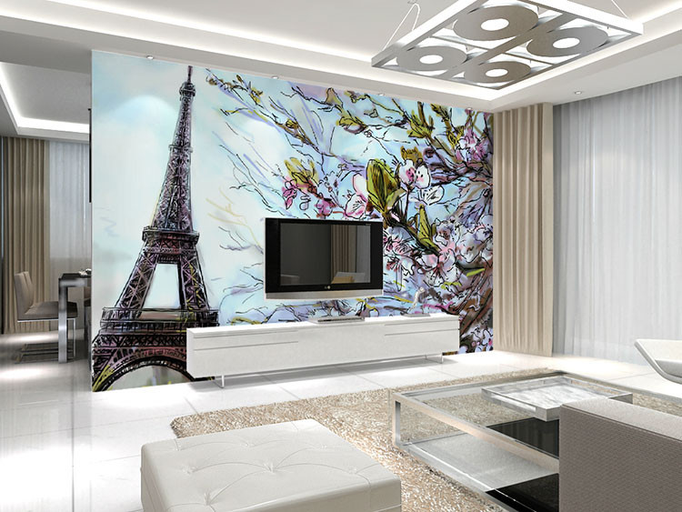 Beibehang Paris Eiffel Tower Graphic Pattern Wall Floral Papel De Parede 3d  Large Murales Wall Decal Mural Wallpaper Wall Paper