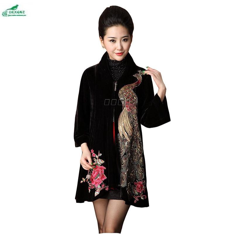 Autumn Middle age Plus size Outerwear fat mother loaded women gold velvet coat Women embroidery windbreaker