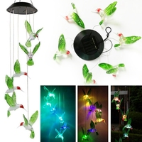 1pcs Solar Color Changing LED Bee Wind Chimes Light Lamp Home Room Garden Decor