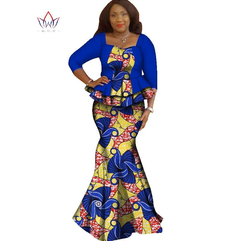 Lente rok set afrikaanse ontworpen kleding traditionele bazin print - Traditionele kleding