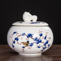 christmas Jingdezhen pottery and porcelain tea cans green flowers and Pu'er black tea storage tank sealed Tieguanyin tea box