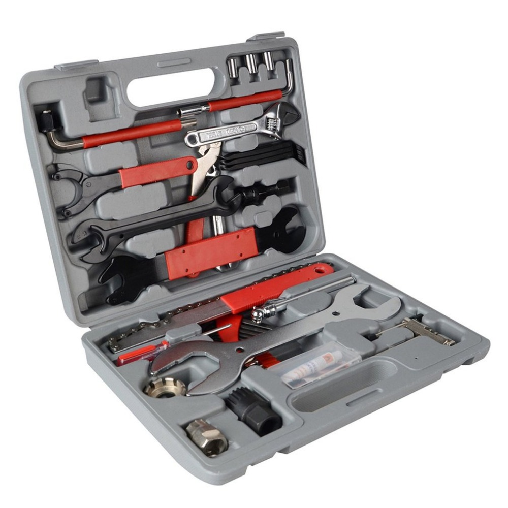 (Ship From Russia) 44pcs /set Carbon Steel Multifunction Bike Cycling Bicycle Maintenance Repair Hand Wrench Tool Kit Box Case chromed steel bicycle repair tool kit 21 tool set