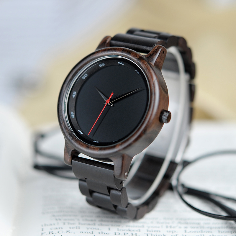 где купить BOBO BIRD All Ebony Wooden Watch Simple Black Quartz Men Wristwatch in Wooden Gift Box дешево