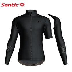 Santic Men Cycling Jacket Keep Warm Windproof Bike Jacket MTB Road New Removable Sleeves Autumn Winter Windbreaker Campera