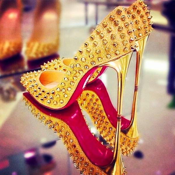 4380faf642d Follies Spikes Gold Studded Sexy 12cm Red Bottoms High Heels Shoes Women  Shiny Sequins Point Stiletto Toe Pumps Dress Shoes