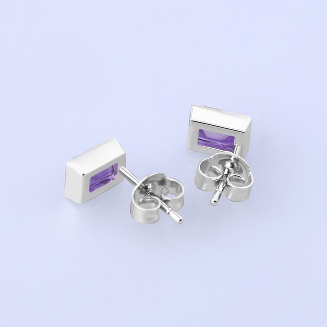 Gem's Ballet 0.59Ct Emerald Cut Natural Amethyst Wedding Stud Earrings Solid 925 Sterling Silver Gemstone Fine Jewelry For Women
