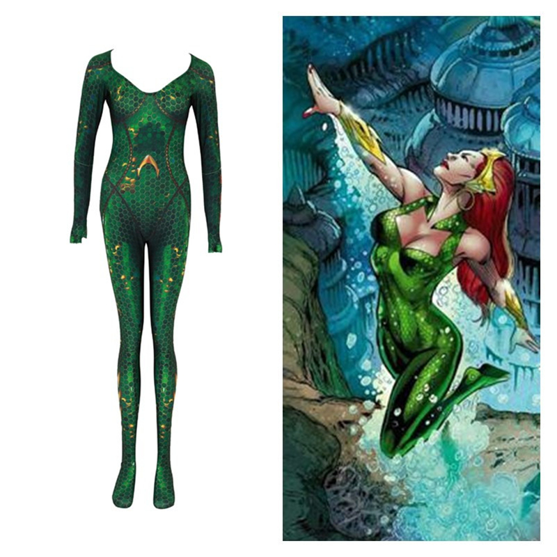 New Anime Movie Atlantis Aquaman Justice League Mera Cosplay Costumes Women Girls Bodysuits Jumpsuits Zentai Party Outfits Suits