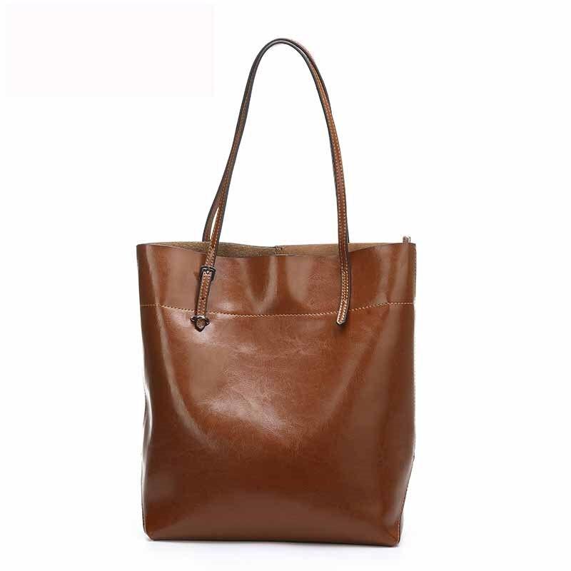Genuine leather High capacity Shopping Bag 2016 New Fashion Oil Wax Cowhide women Handbag Shoulder Bag Casual Lady Big Bags