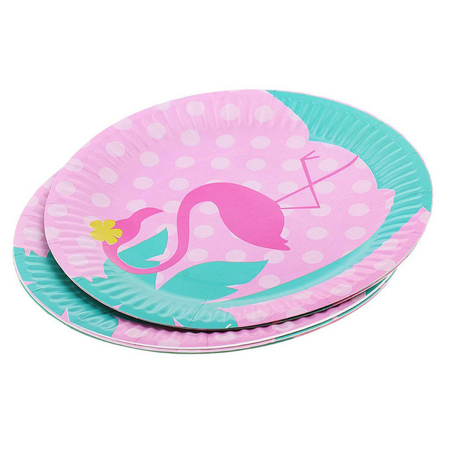 8pcs flamingo disposable paper plate for kids birthday baby shower