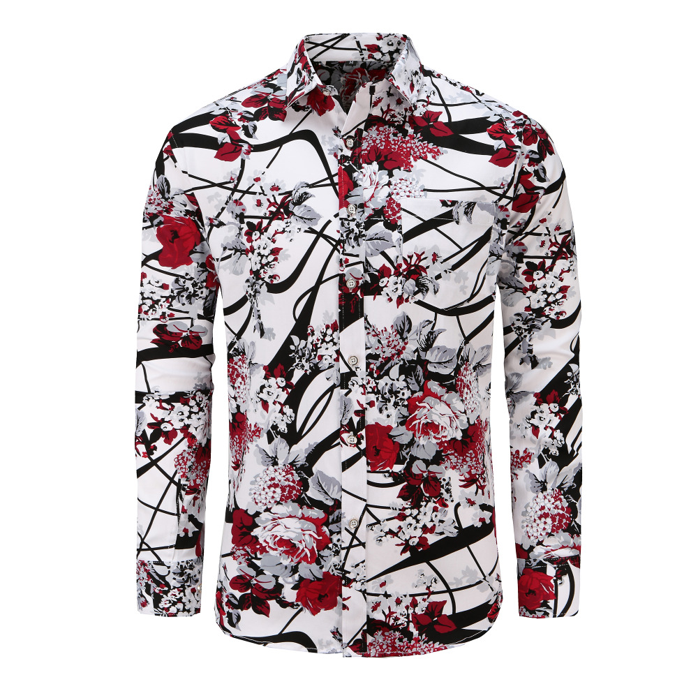 YYear Mens Relaxed fit Floral Striped Long Sleeve Plus Size Button Down Shirt