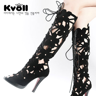 ФОТО 2015 Spring New Large Size Women Sexy Stiletto Boots With Hollow Net Fish Mouth High Tube Cold Boot Free Shipping
