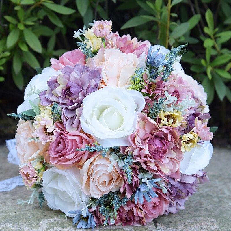 Wild Flowers For Weddings: Vintage Blue Silk Wild Flowers Bouquet For Wedding Plain