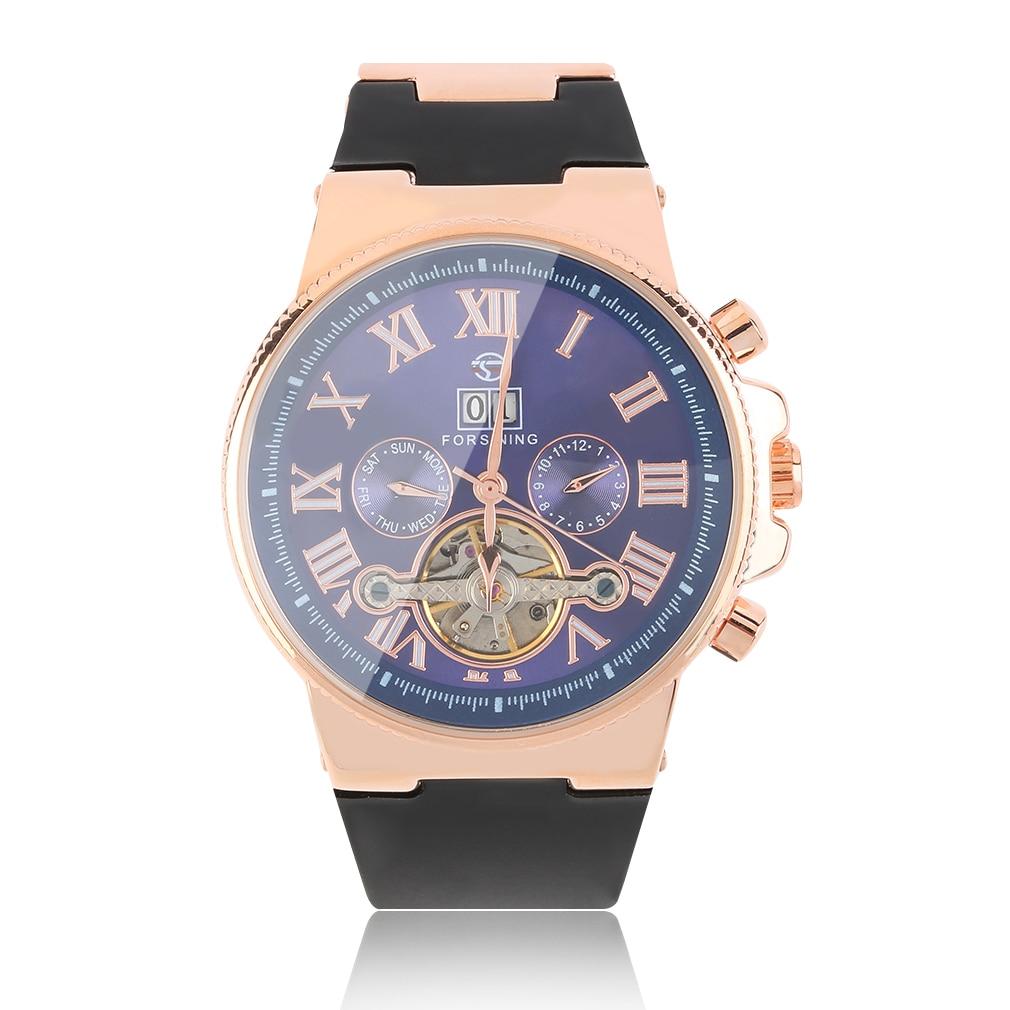 ФОТО Montre Homme Rubber Strap men Watch Retro Skeleton Mechanical Wristwatch Date Display Relogio Masculino