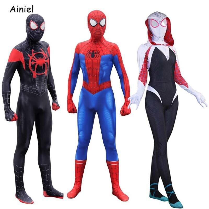 Spider Man Miles Morales Costume Peter Parker Costume Gwen Stacy  Mask Spiderman Suit Zentai Cosplay Costume For Kids Women Men