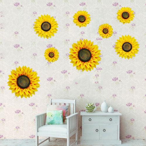 2018 new creative 3d simulation sunflower wall sticker for Sunflower bedroom decor
