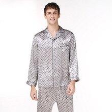 2 XLmens шелк пижамы набор письмо с длинным рукавом мужская ночь шелка sleepwears бренд мужской шелк пятно лето моды случайные пижамы множеств