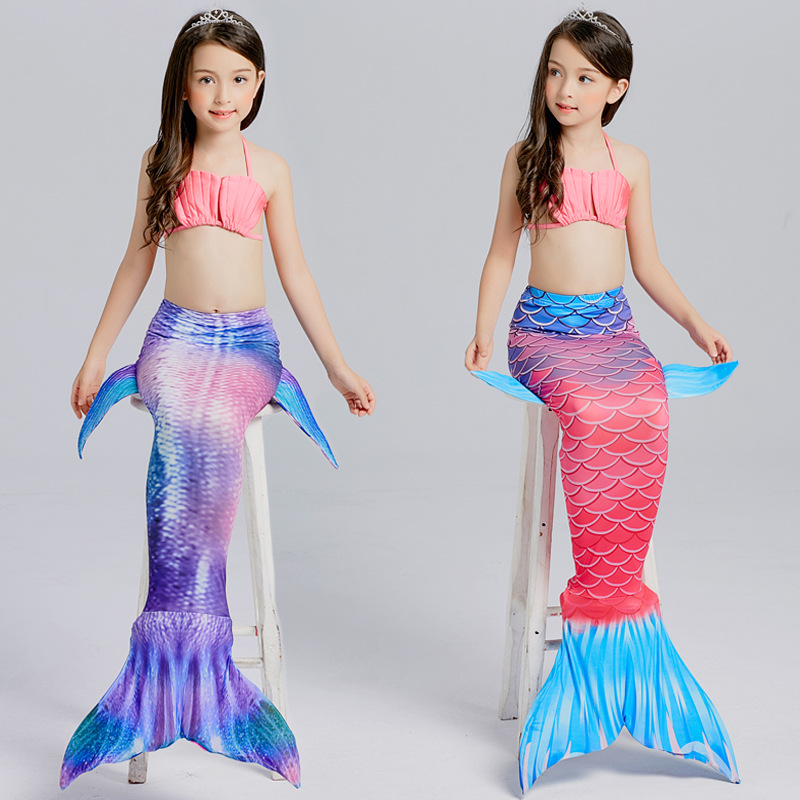 4PCS/Set Swimmable Children Dianonds Mermaid Tail With Monofin Fin Girls Kids Swimsuit Mermaid Tail Costume for Girls Swimming 2 piece girl s mermaid tails for swimming costume with monofin for kids girl swimmable mermaid tail dress w fin cosplay 2017 new