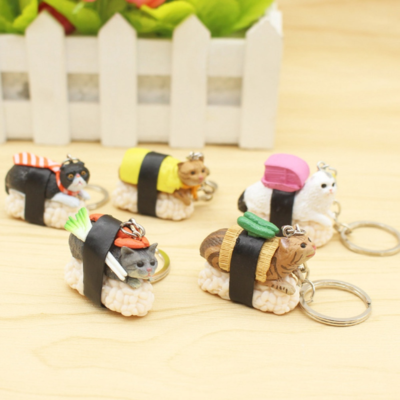 New Design Cute Cartoon Sushi Cat Plastic Keychain For Women Handbag Keyring Jewelry Random Send 1pc