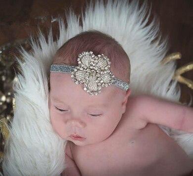 Fashion Beads Flower Clover Baby Girls Toddler Newborn Hairband Rhinestone Headband Elastic Kids Hair Band Wedding Accessories