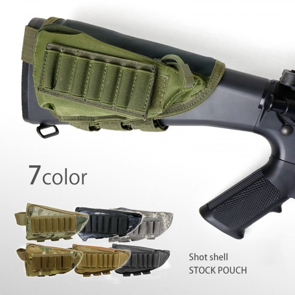 Airsoft Tactical Rifle Bullet Buttstock Shell Cartridge Holder Carrier Pouches